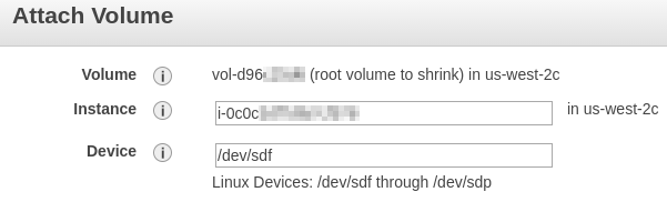 Attach volume to sdf on Ubuntu instance